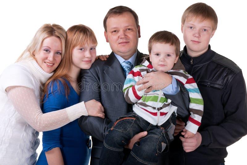 Una famiglia di cinque amichevole fotografie stock