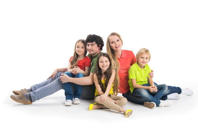 Una famiglia di cinque serie al neon di vita immagine stock