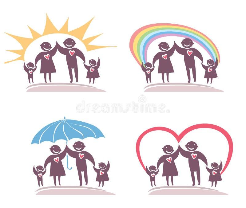 Una famiglia di quattro icone illustrazione vettoriale
