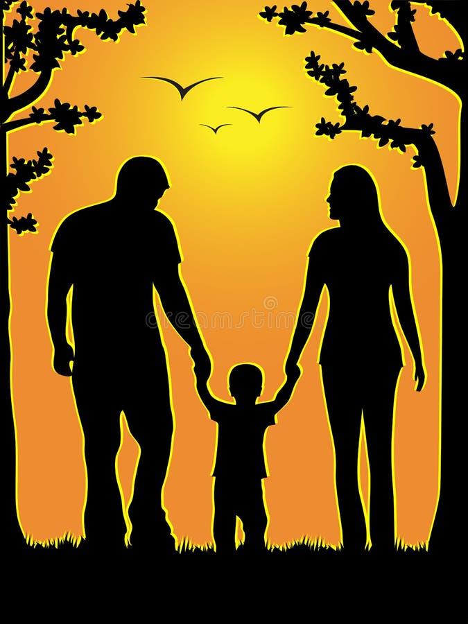 Una famiglia di tre illustrazione vettoriale