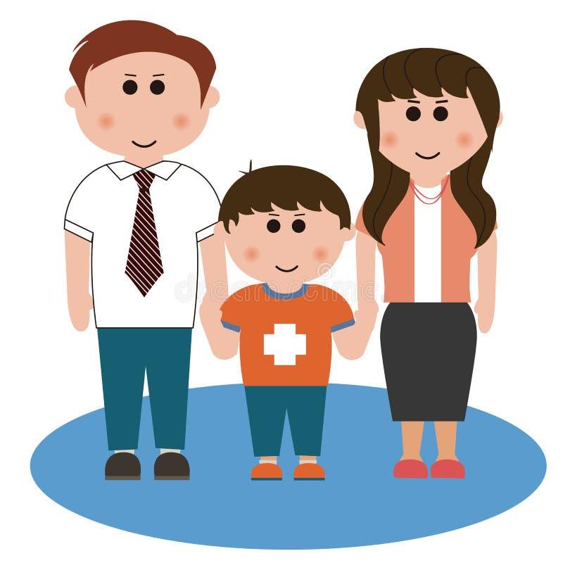 Una famiglia di tre membri royalty illustrazione gratis