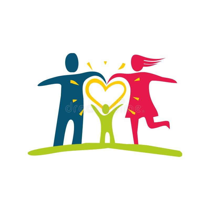 Una famiglia felice Figure multicolori, membri della famiglia amorosi illustrazione di stock