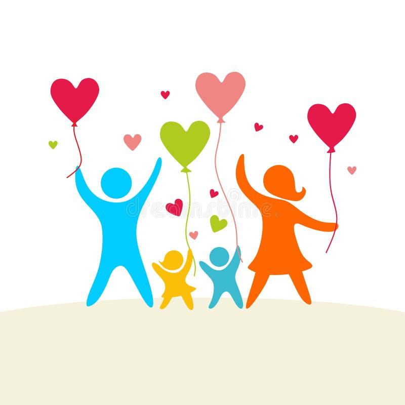 Una famiglia felice Figure multicolori, membri della famiglia amorosi Genitori: Mamma e papà e bambini royalty illustrazione gratis