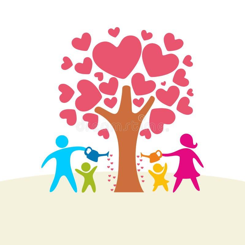 Una famiglia felice Figure multicolori, membri della famiglia amorosi Genitori: Mamma e papà e bambini illustrazione vettoriale