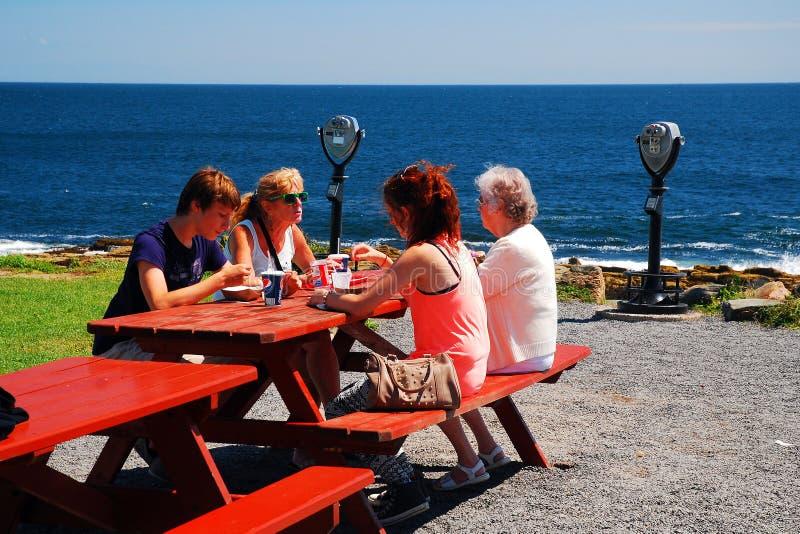 Una famiglia gode del pranzo con una vista fotografia stock
