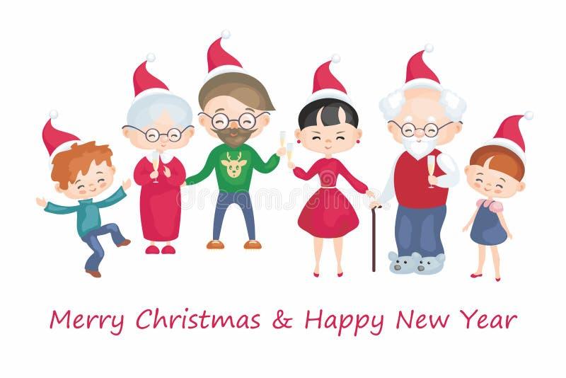 Una famiglia numerosa celebra il Natale royalty illustrazione gratis