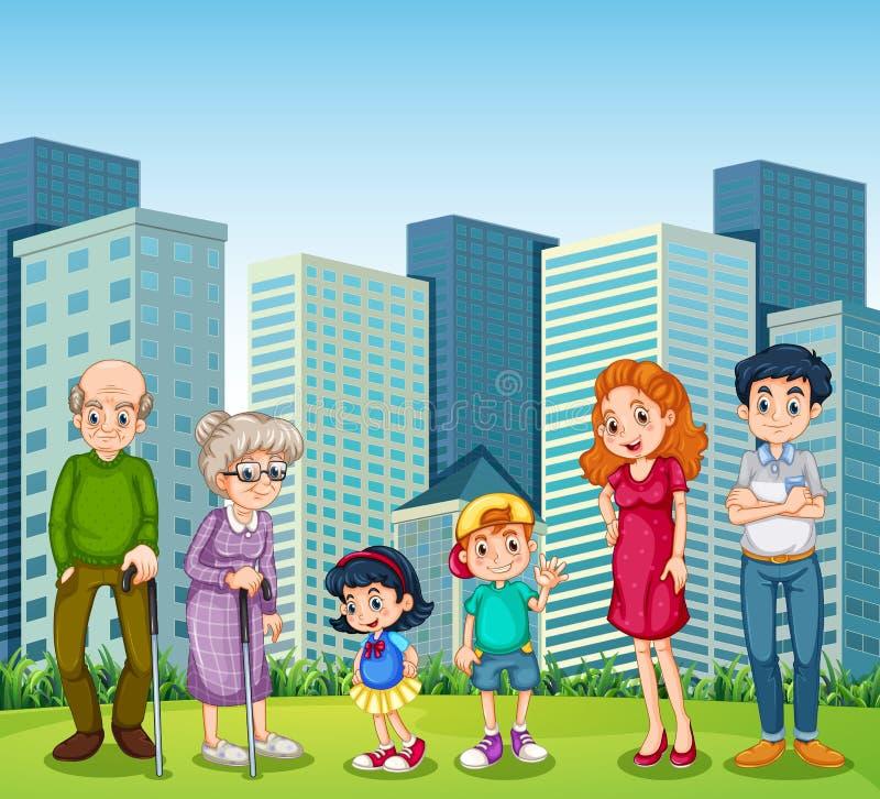 Una familia con los abuelos delante del edificio ilustración del vector