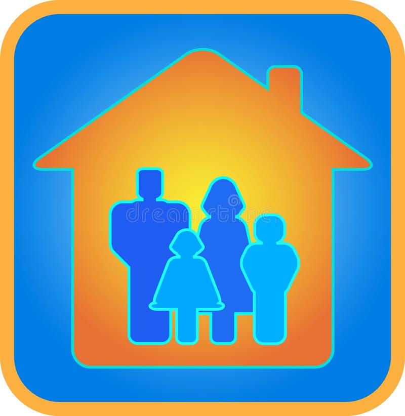 Una familia de cuatro miembros en la casa stock de ilustración
