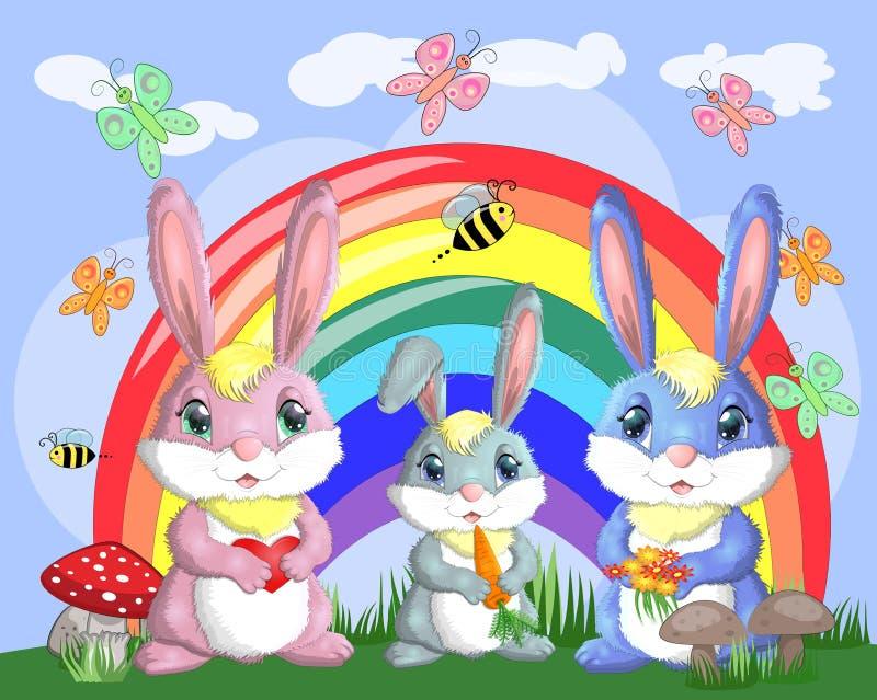 Una familia de tres conejitos en el prado cerca del arco iris Mamá, papá, bebé Primavera, postal stock de ilustración