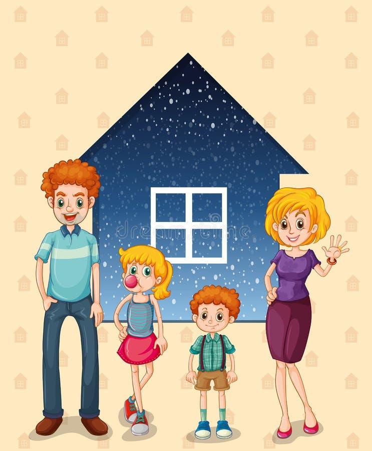Una familia delante de la casa libre illustration