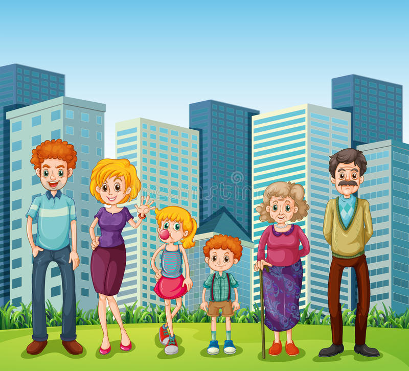Una familia delante de los edificios altos en la ciudad libre illustration