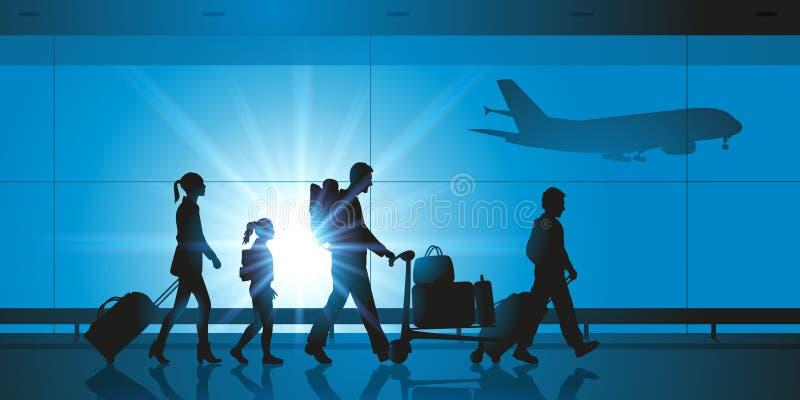 Una familia en un aeropuerto antes de subir stock de ilustración