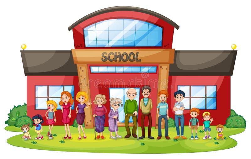 Una familia grande delante de la construcción de escuelas libre illustration