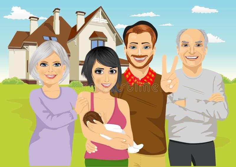 Una familia incluyendo padres con el bebé recién nacido y los abuelos que se colocan delante de la cabaña clásica libre illustration