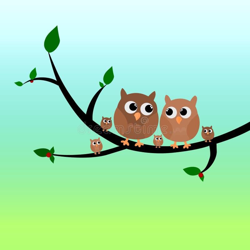 Una familia linda del búho que se sienta en un ejemplo del vector del árbol aislado en fondo de la pendiente libre illustration
