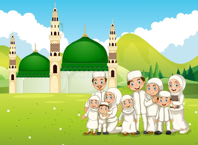 Una familia musulmán grande delante de la mezquita libre illustration