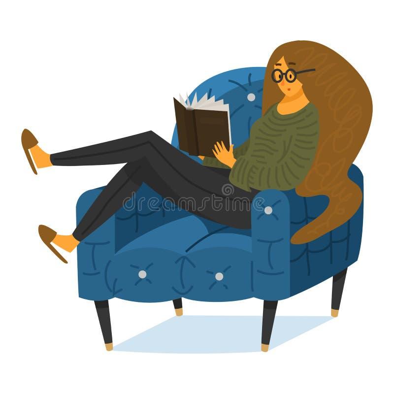 Una fan de libros que una mujer se est? sentando en el sof? Amante elegante de la literatura con los vidrios libre illustration