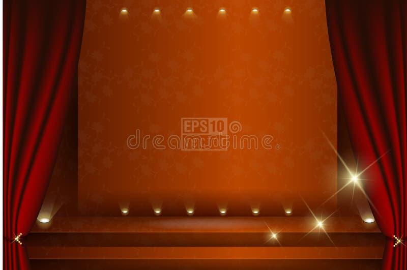 Una fase del teatro con un'illustrazione della tenda fotografie stock