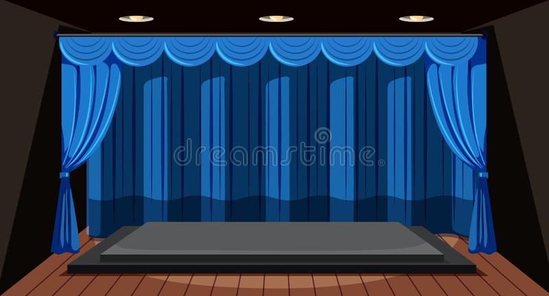 Una fase vuota con la tenda blu royalty illustrazione gratis