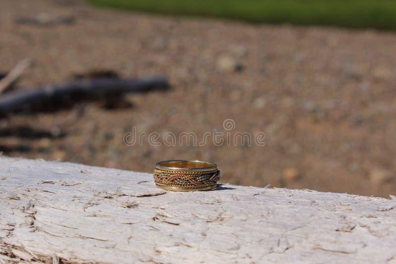 Una fede nuziale dell'oro con un modello intrecciato che si siede su un ceppo del legname galleggiante fotografia stock