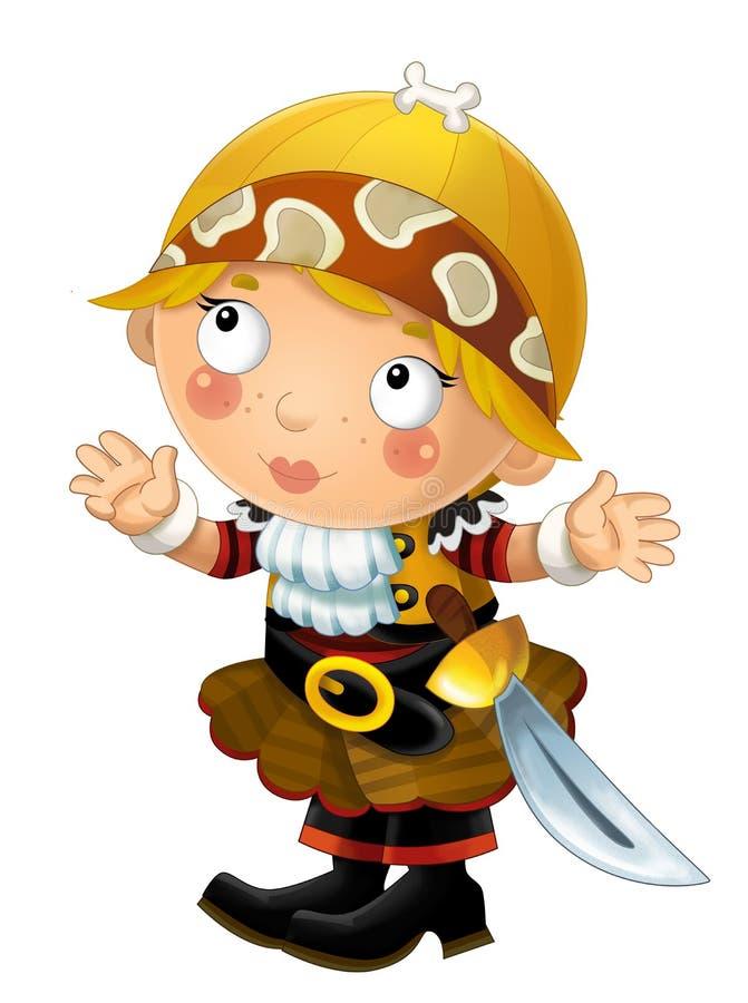 Una felice donna pirata medievale sorridente sorridendo con la spada su sfondo bianco illustrazione vettoriale
