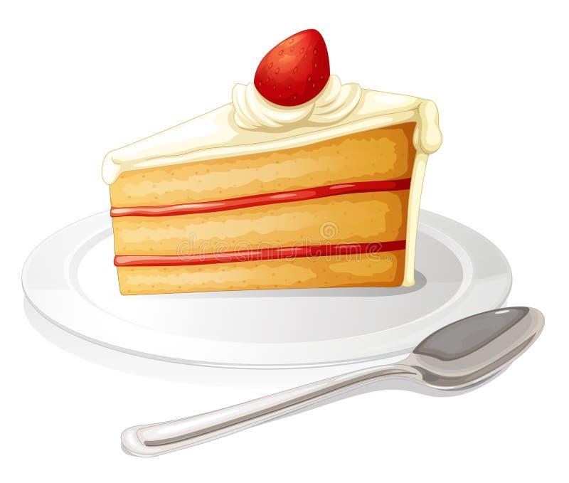 Una fetta di dolce con glassa bianca in un piatto illustrazione vettoriale