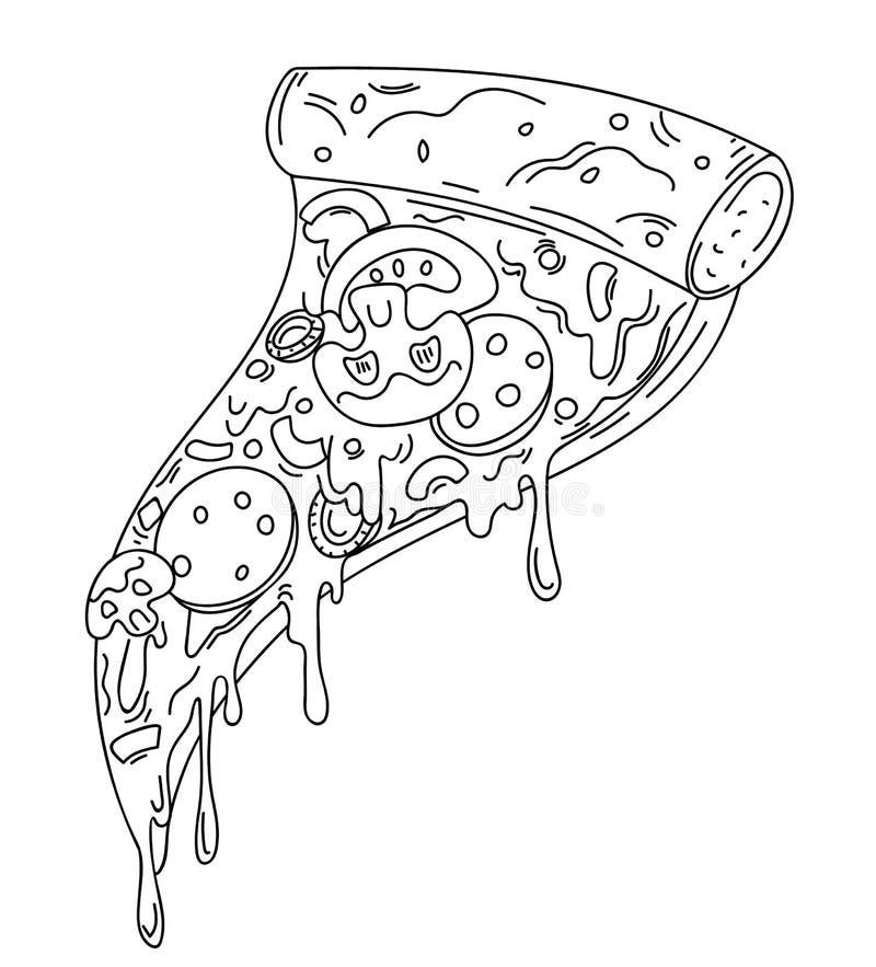 Una fetta di pizza, illustrazione del fumetto royalty illustrazione gratis