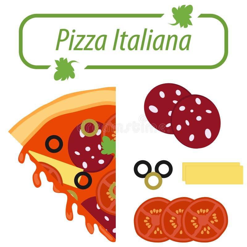Una fetta di pizza italiana con gli ingredienti Logo di pizza italiana illustrazione di stock