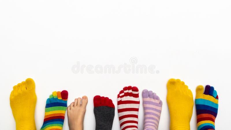 Una fila de calcetines y de dedos del pie coloridos en un fondo blanco fotos de archivo libres de regalías