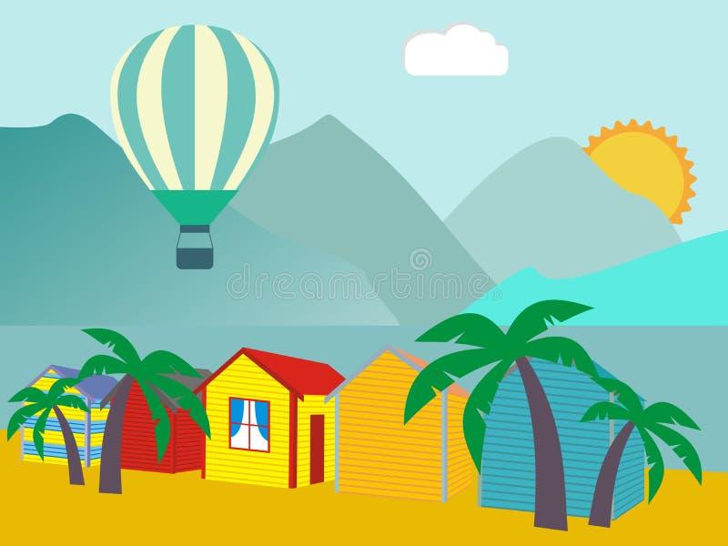 Una fila de las chozas de la playa contra el cielo azul y arena y mar ilustración del vector