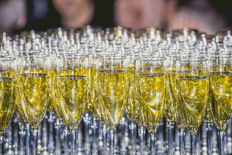 Una fila de los vidrios llenados de champán está lista alineado para ser fotografía de archivo libre de regalías