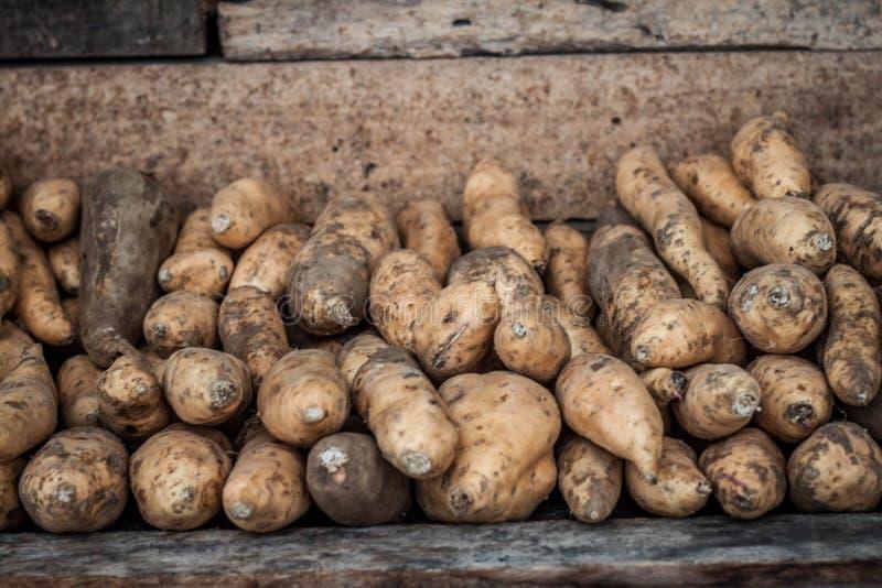 Una fine del deposito della patata dolce dell'igname sul jogja contenuto foto Indonesia immagini stock