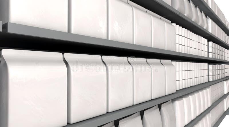 Scaffali del supermercato con i prodotti generici fotografie stock