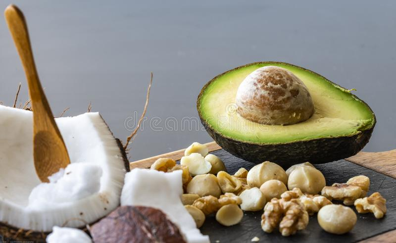 Una fine su di alimento ketogenic sano immagini stock libere da diritti