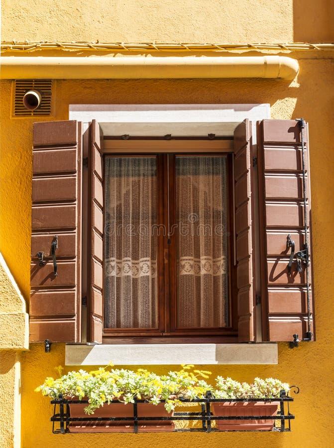 Una finestra con gli otturatori ed i fiori aperti in un cassetto sotto Una casa sull'isola di Burano, Venezia immagini stock libere da diritti