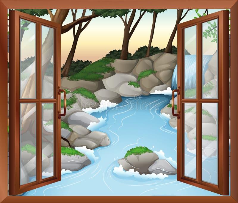 Una finestra vicino alle cascate illustrazione di stock