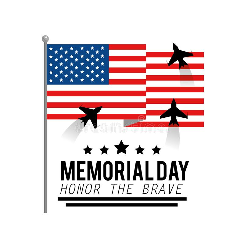Una flag with airplanes to memorial day vector illustration