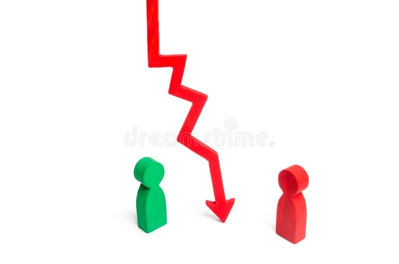 Una flecha roja de la carta abajo divide a las dos personas que discuten el caso Terminación y avería de relaciones, rompiendo la imagen de archivo libre de regalías