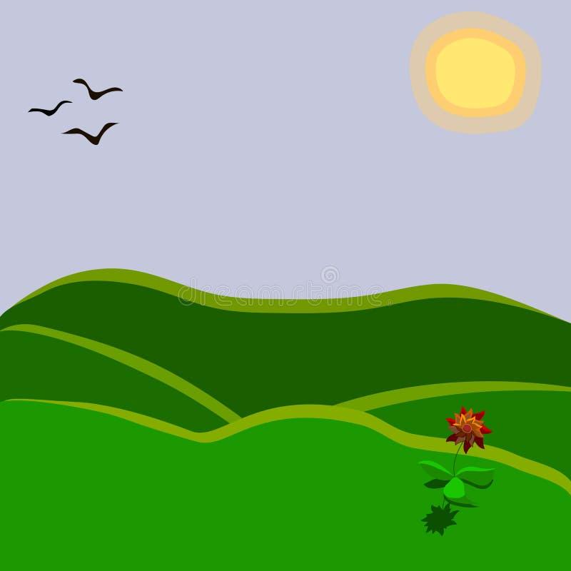 Una floricultura rossa su una collina sotto illustrazione vettoriale