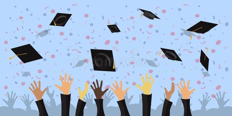 Una folla dei laureati getta le tazze accademiche nell'illustrazione piana di vettore del cielo illustrazione vettoriale
