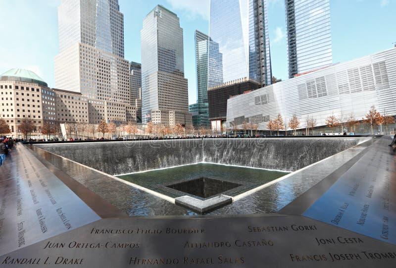 Una fontana del 911 memoriale immagine stock