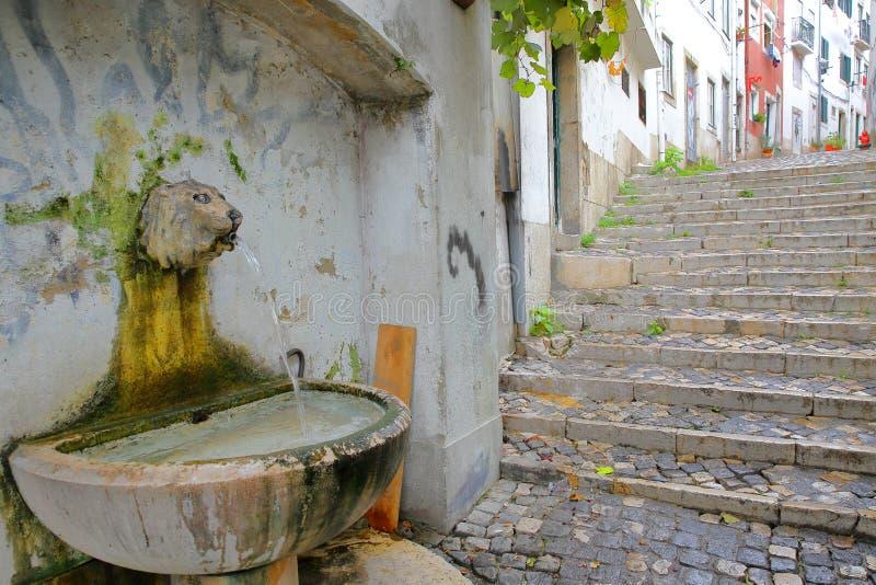 Una fontana della testa del ` s del leone nella vicinanza di Alfama con le scale cobbled a Lisbona, Portogallo fotografia stock libera da diritti