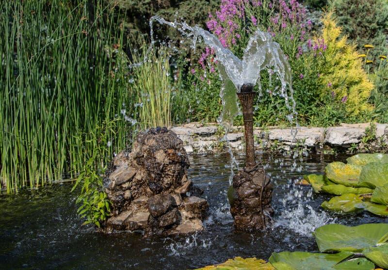 Una fontana nei bei scorrimenti dell'acqua del parco fotografie stock