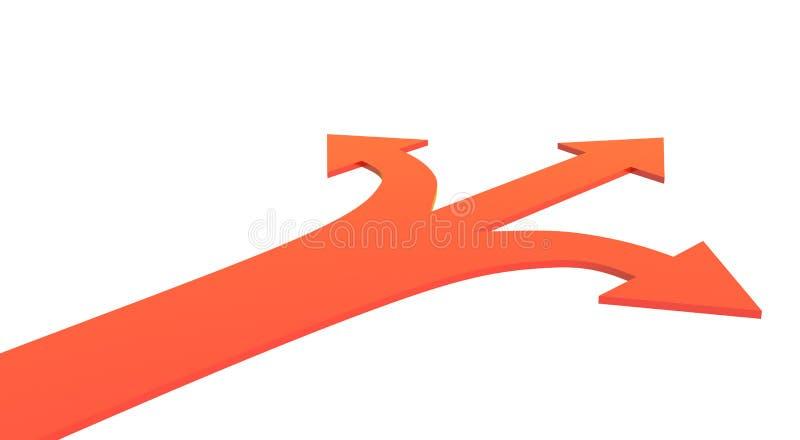 Una forcella di tre strade illustrazione vettoriale