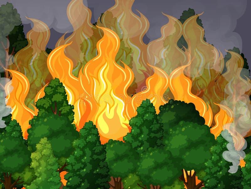 Una foresta con il disastro di incendio violento illustrazione di stock