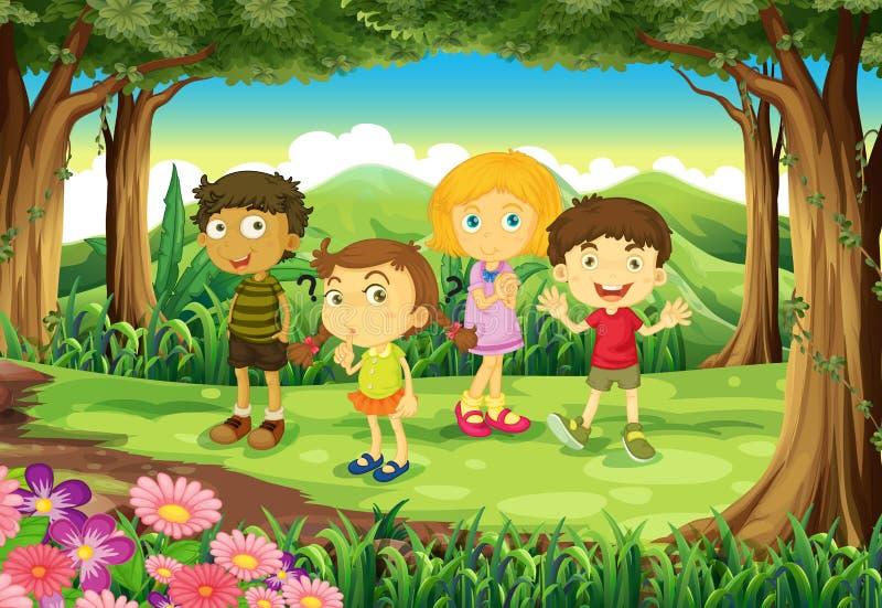 Una foresta con quattro bambini illustrazione vettoriale