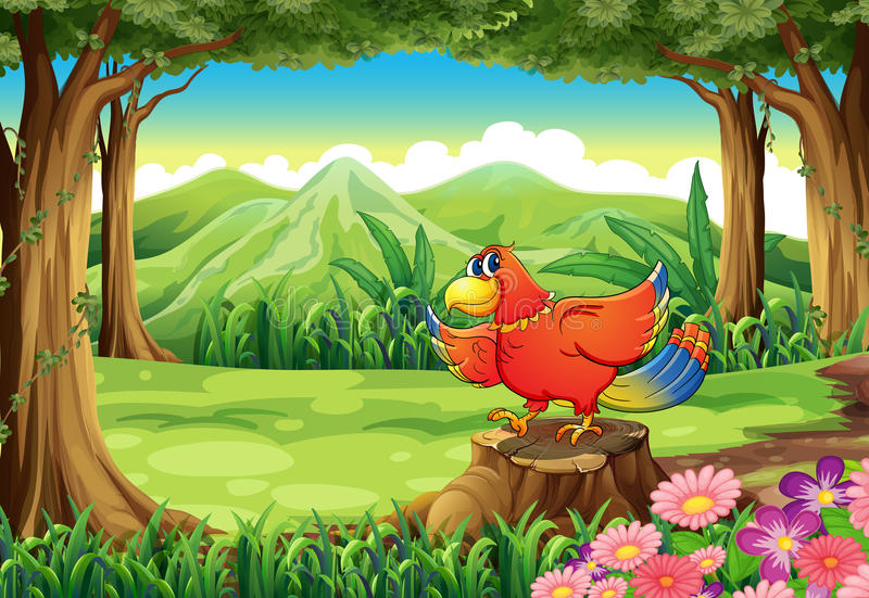 Una foresta con un uccello variopinto che sta sopra il ceppo illustrazione vettoriale