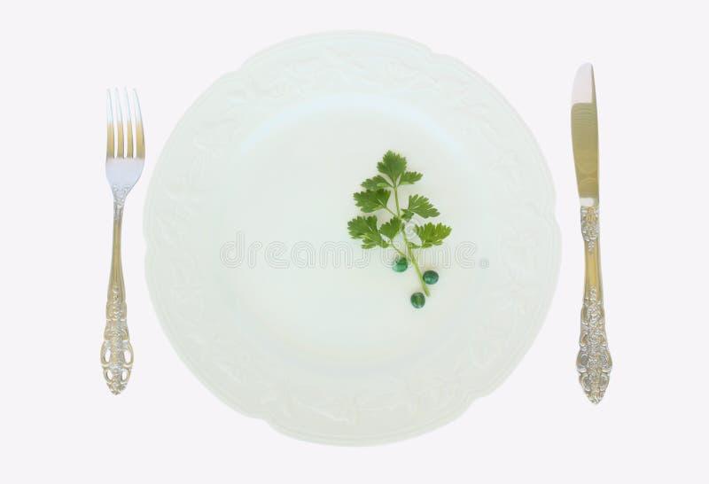 Una fork y un cuchillo de la placa de cena imagen de archivo libre de regalías