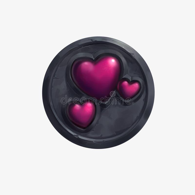 Una forma y una piedra reflexivas rojas del corazón en fondo blanco aislado libre illustration