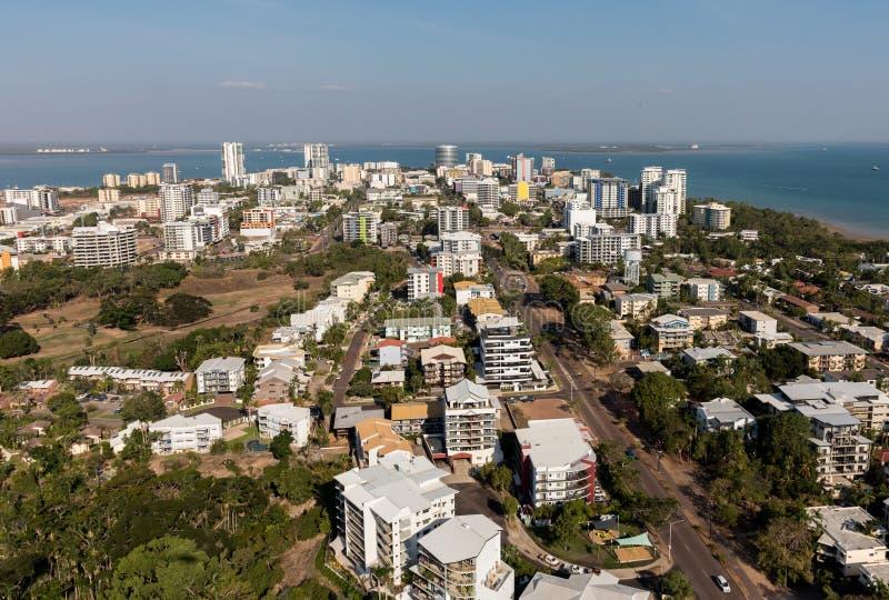 Una foto aerea del Darwin, la capitale del Territorio del Nord dell'Australia immagine stock libera da diritti